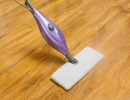 Using a steam mop on laminate floor.