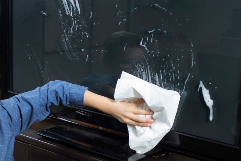 How to fix a TV screen cleaned with Windex.