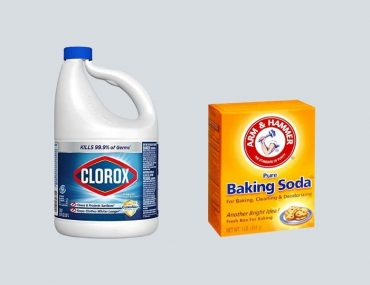 Mixing bleach and baking soda for general purpose cleaning.