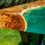 Using epoxy to transform tabletop.