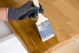 Painting a kitchen countertop.