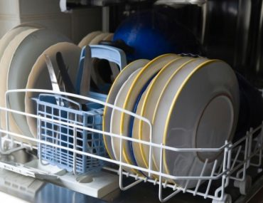 Removing rust from a dishwasher rack.