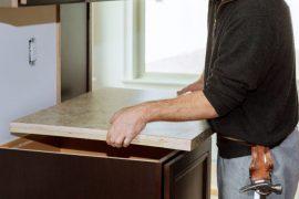 Methods of reviving and restoring older laminate countertops.